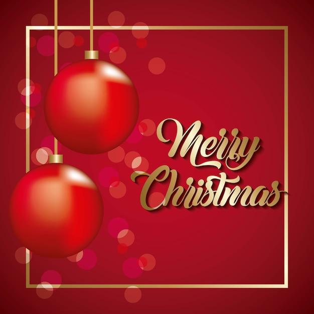 メリークリスマスカードかわいい赤いボールぶら下がりの泡の背景 Premiumベクター