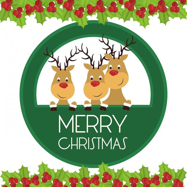 Merry christmas card design Premium Vector
