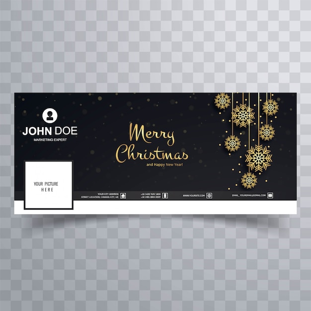 Merry christmas card facebook banner template design Premium Vector