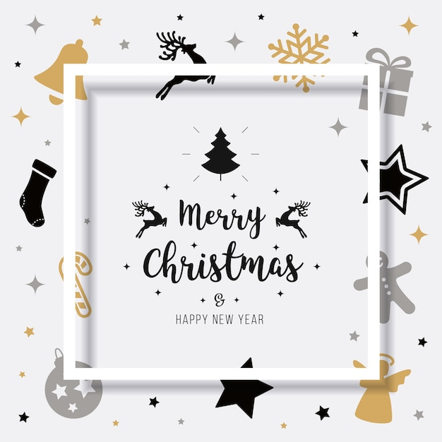 Merry christmas card greeting elements text shadow frame Premium Vector