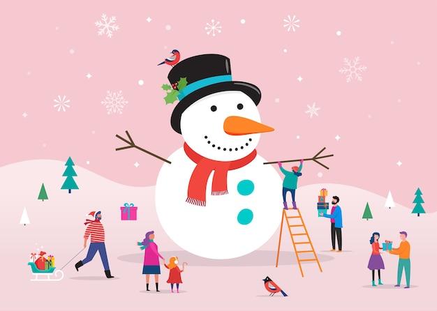 メリークリスマスカードテンプレート、背景、巨大な雪だるまと小さな人々、若い男性と女性、雪の中で楽しんでいる家族とのバナー Premiumベクター