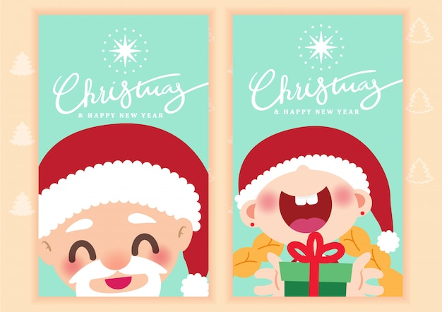 Merry Christmas Card Template Background Vector Vector Premium