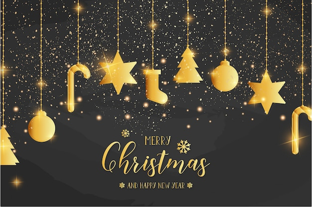 Merry christmas card template with golden icons Free Vector