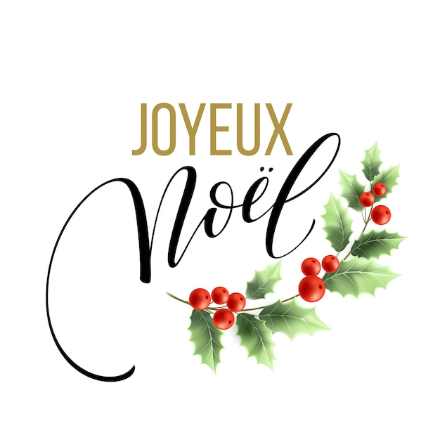 Merry christmas card template with greetings in french language. joyeux noel Premium Vector