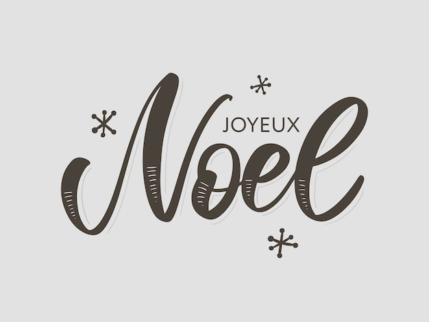 Merry christmas card template with greetings in french language Premium Vector