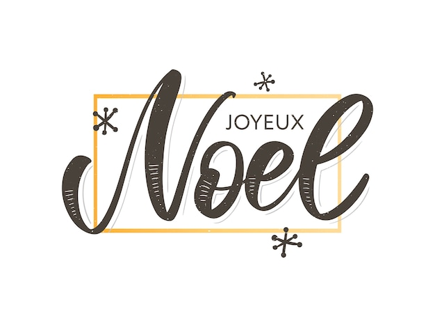 Merry christmas card template with greetings in french language. Premium Vector