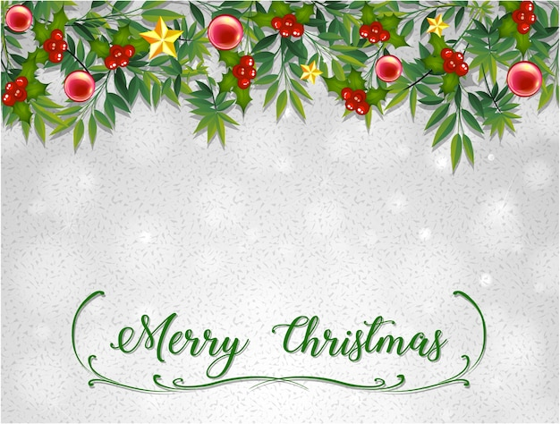 Free Christmas Card Templates.Merry Christmas Card Template With Mistletoes Vector Free