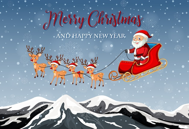 Merry christmas card template Free Vector