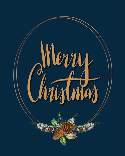 Merry Christmas card vector Vector | Free Download