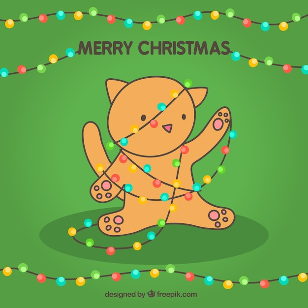 Merry christmas card with a cute cat Vector | Free Download