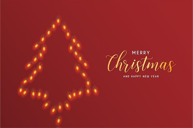 Merry christmas card con luci astratte dell'albero di natale Vettore gratuito