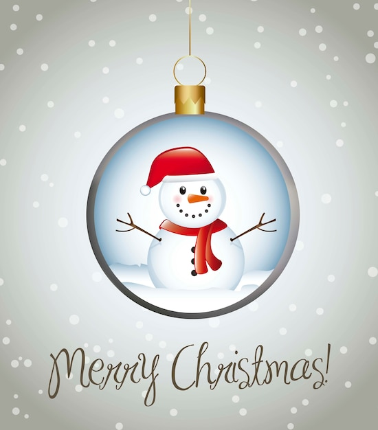 Merry christmas card with balls over gray background vector Premium Vector