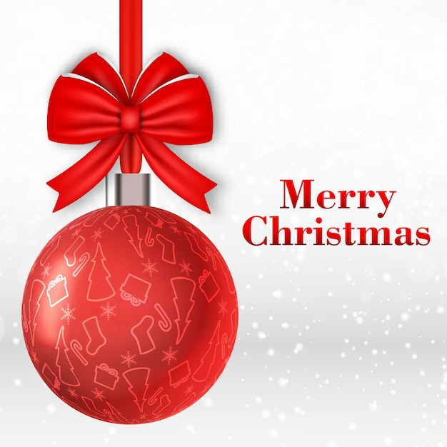 Merry christmas card with big red ball decorated with bow Free Vector