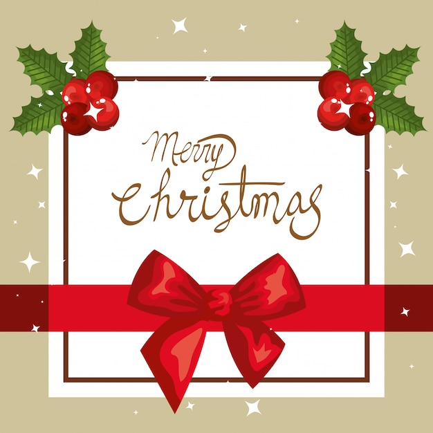 Merry christmas card with bow ribbon and square frame ...
