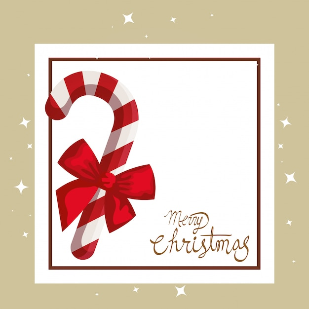 Merry christmas card with cane and square frame Free Vector