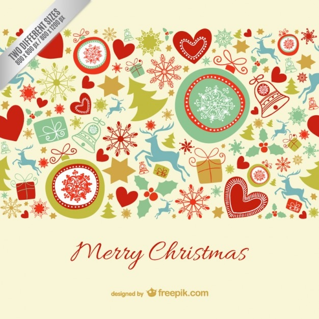 Merry Christmas card with colorful\ ornaments
