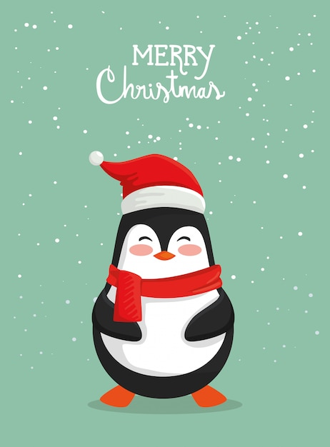 Free Vector | Merry christmas card with cute penguin