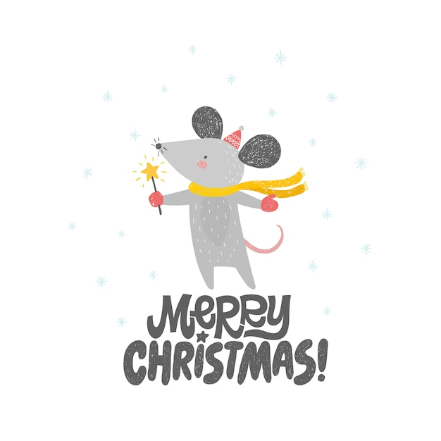 Merry christmas card with cute rat, mouse. Premium Vector
