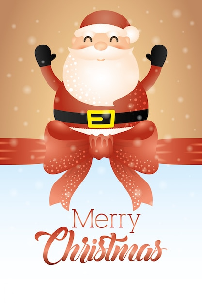 Merry christmas card with cute santa claus Vector | Free ...