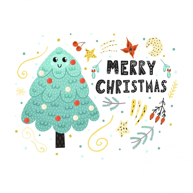 merry christmas card with a cute tree funny holiday print