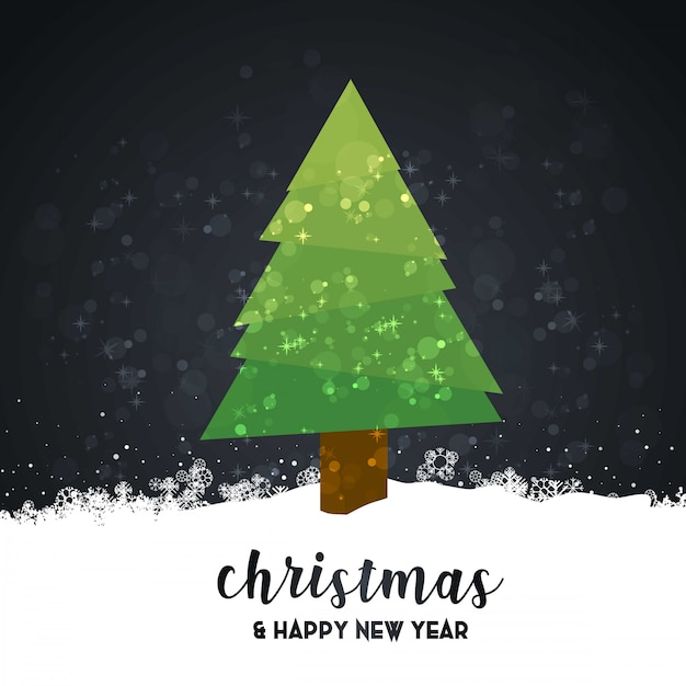 Merry christmas card with dark background and typography vector Free Vector