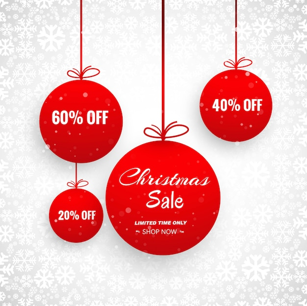 Merry christmas card with decorative ball sale design Free Vector