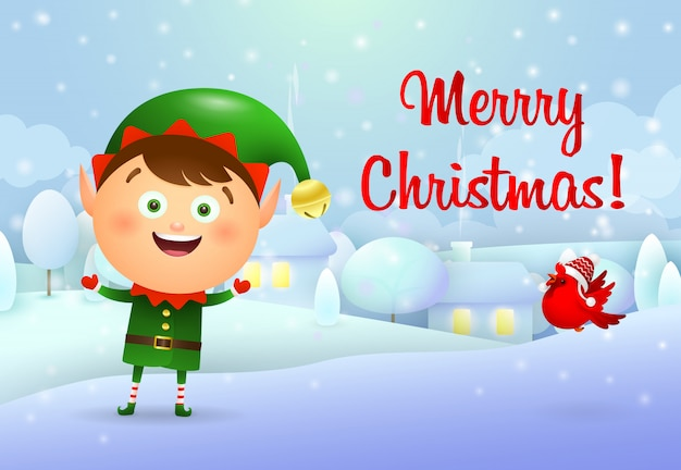 Merry christmas card with elf Free Vector