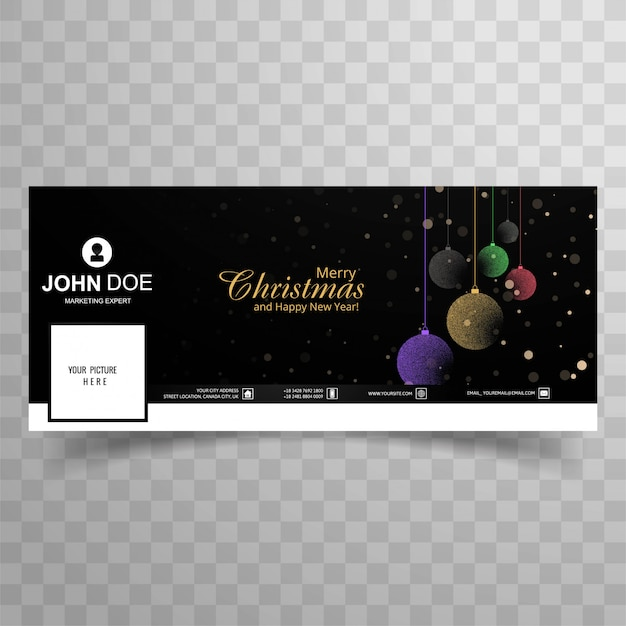Merry christmas card with facebook cover banner template design Free Vector