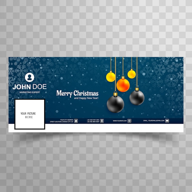 Merry christmas card with facebook cover banner template design Premium Vector