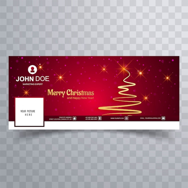 Merry christmas card with facebook cover banner template Premium Vector