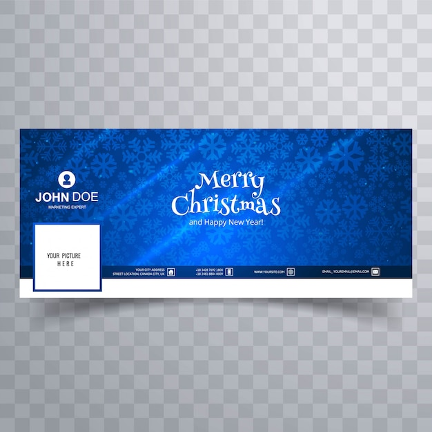 Merry christmas card with facebook cover banner template Free Vector