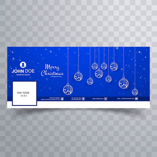 92976a0006 Merry christmas card with facebook cover banner template Vector ...
