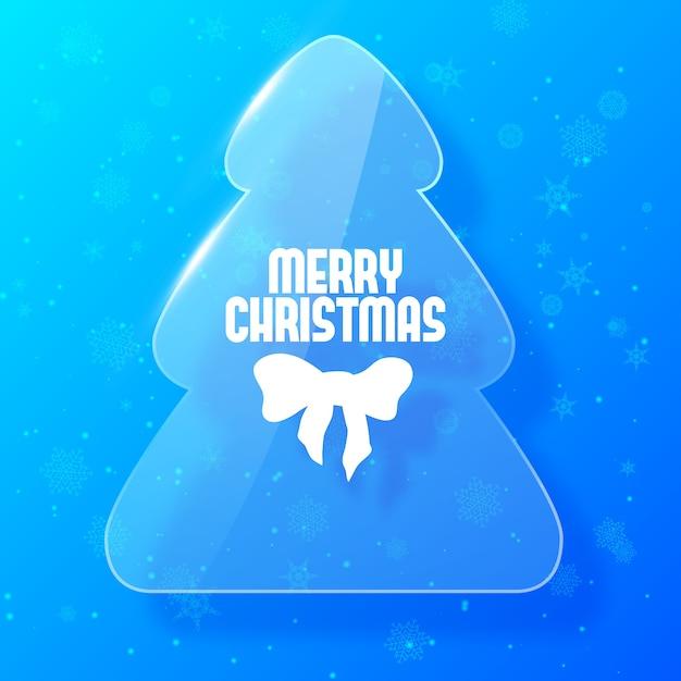 유리 스타일에 전나무 나무와 메리 크리스마스 카드 무료 벡터