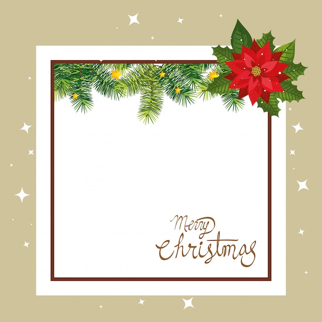 Merry christmas card with flower and square frame Free Vector