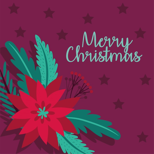 Merry christmas card with flower vector illustration design Free Vector