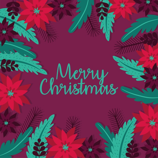Merry christmas card with flowers garden decoration vector illustration design Free Vector