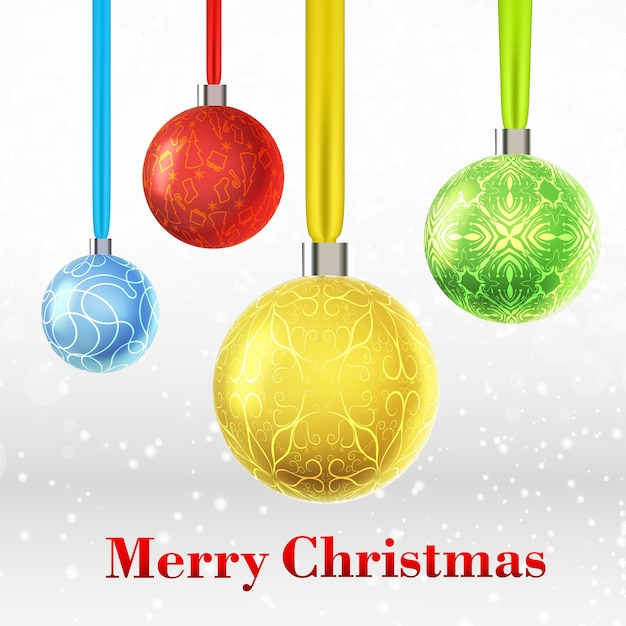 Merry christmas card with four colorful ornamented baubles Free Vector