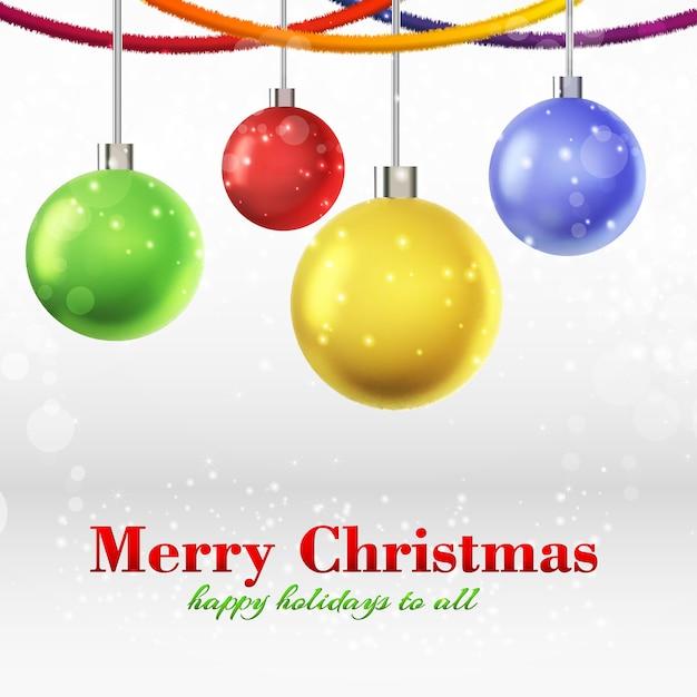 リボンにぶら下がっている4つの輝く装飾されたボールとメリークリスマスカード 無料ベクター