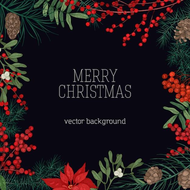 Thiệp Giáng sinh vui vẻ với khung cành cây lá kim