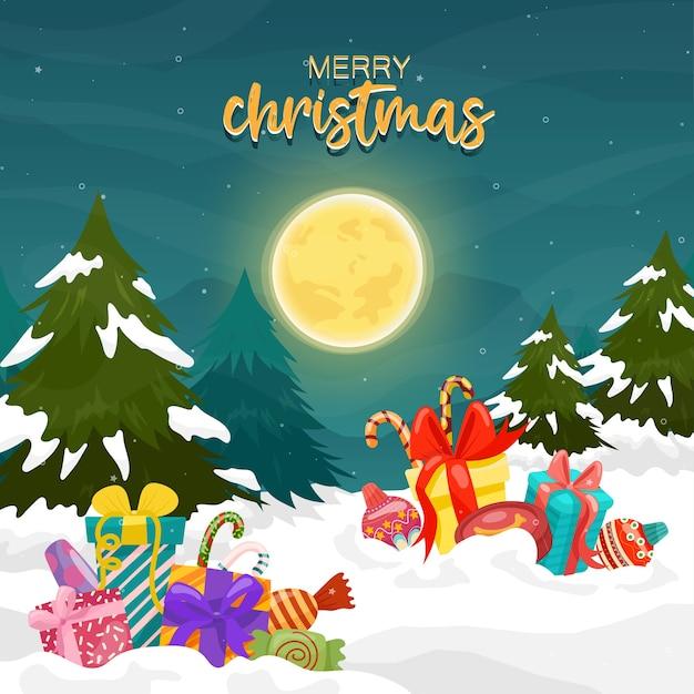 달과 산에 선물 상자와 소나무 메리 크리스마스 카드 무료 벡터