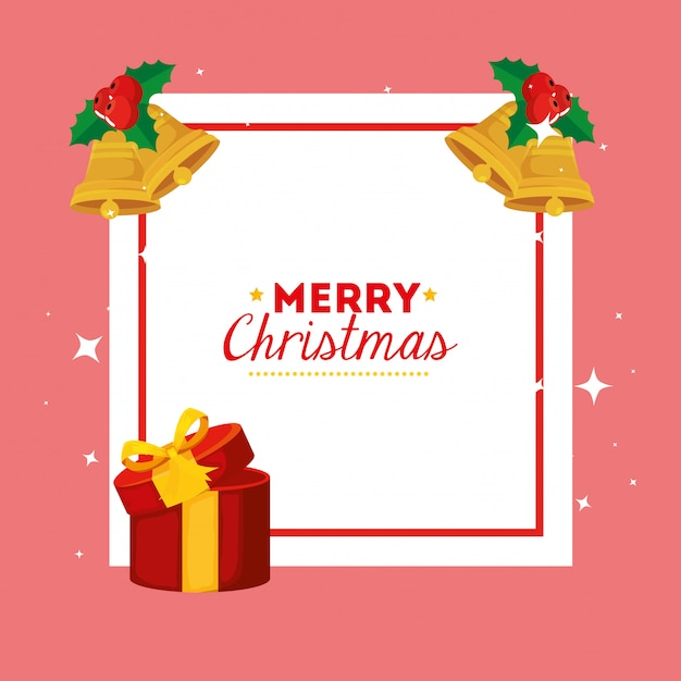 Merry christmas card with gift box and decoration Free Vector
