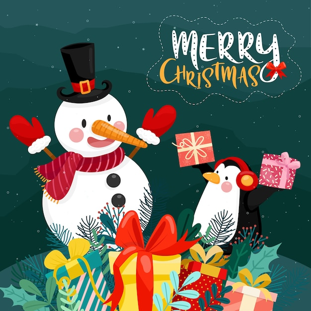 Merry christmas card con confezione regalo, pinguino e pupazzo di neve su neve e pino Vettore gratuito