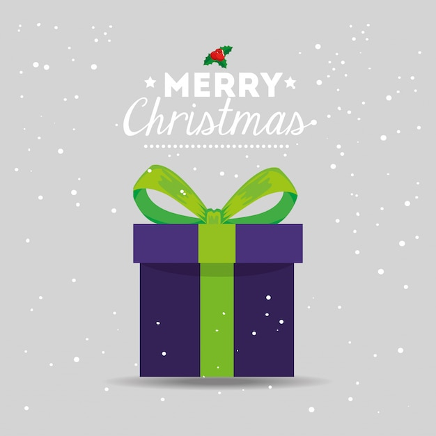 Merry christmas card with gift box Free Vector