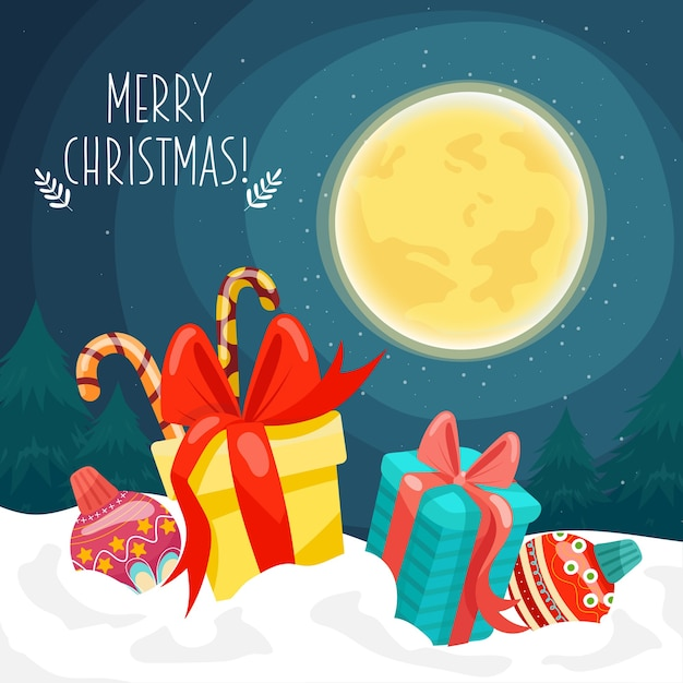 Merry christmas card with gift boxes placed on snow and moon Free Vector