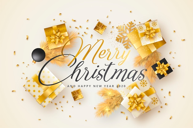 Merry christmas card with golden and black presents Free Vector