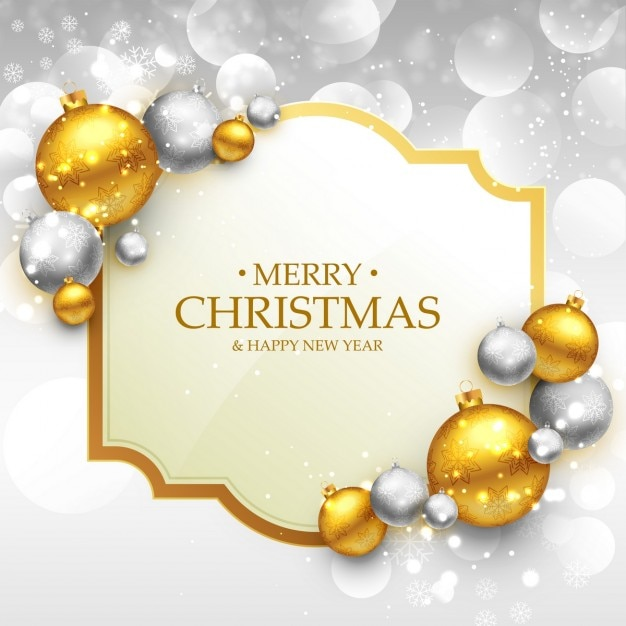 Download Christmas Cards.Merry Christmas Card With Golden And Silver Balls Vector