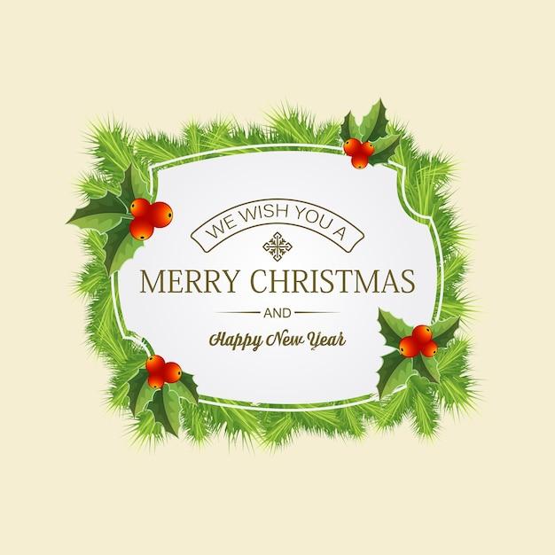 ヤドリギの葉と針葉樹の花輪の真ん中に挨拶とメリークリスマスカード 無料ベクター