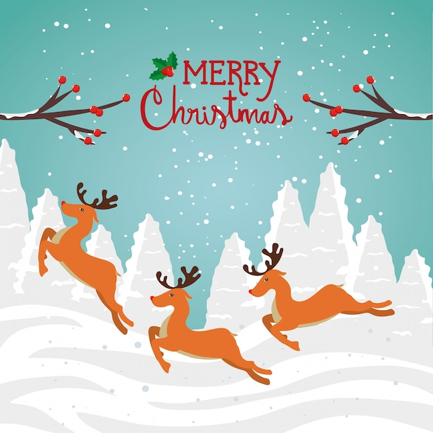 Merry christmas card with group reindeer in winter landscape Free Vector