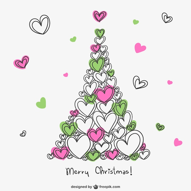 Merry christmas card with hearts Free Vector