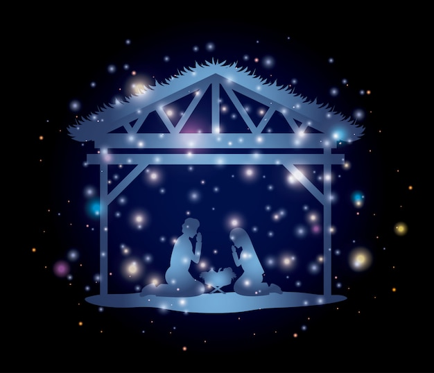 Premium Vector Merry Christmas Card With Holy Family In Stable